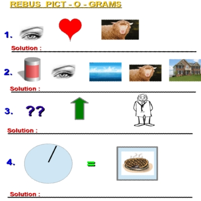 These Rebus Pictogram Puzzles can be downloaded and printed to your PC ...